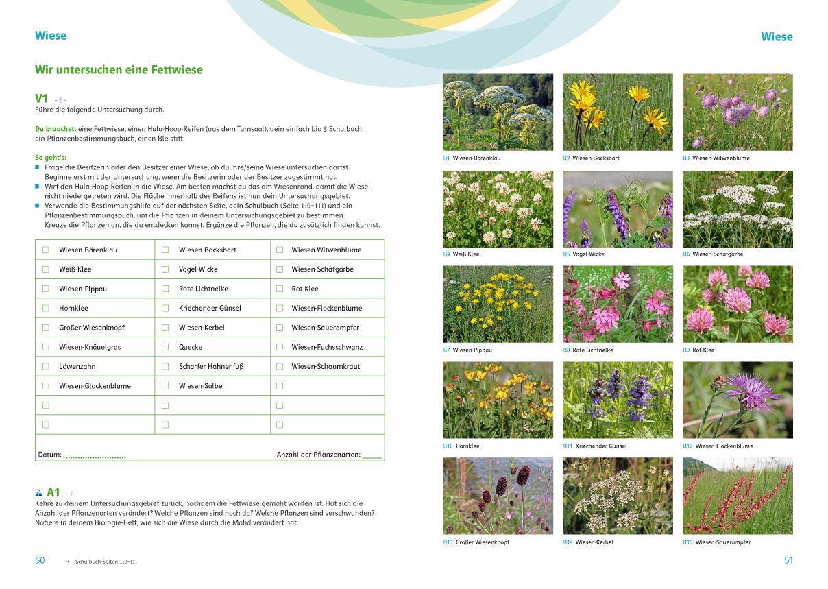 Praxistaugliche Übungen zur Förderung der Artenkenntnis, einfach bio 3 Arbeitsheft 50-51