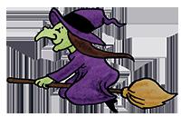 Hexe auf dem Besen