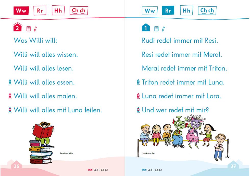 Wunderwelt Sprache 1, Lese- und Schreibtraining, S. 36-37